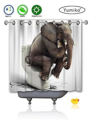 Yumiko Hookless Shower Curtain, Polyester Fabric Shower Window Curtain for Bathroom, Funny Elephant Design, White/Grey/Black