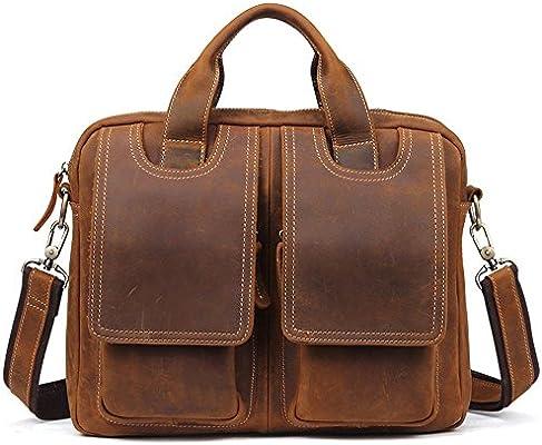 Wenzhihua Cartera de Cuero para Hombre del Vintage para la Bolsa de Mensajero del totalizador del Negocio Bolso de la computadora portátil 13-Inch Bolso ...