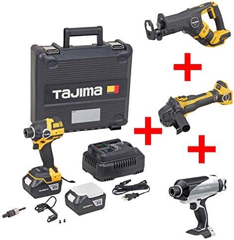 タジマ(Tajima) インパクトレンチ 太軸インパクト 18V セット F300A6ASET (純正ケース, バッテリー2個, 6.35mm変換アダプター付き) + 鉄骨600インパクト T600 + グラインダー G125A + レシプロソー R400A + 鉄骨用ソケット付き PT-F300TG12RT