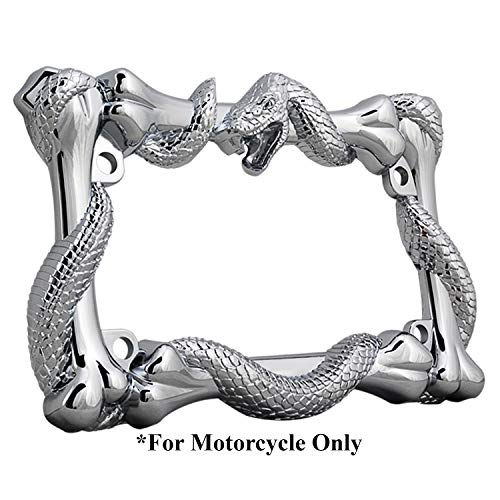 3D Viper Snake and Bones Style Zinc Metal Chrome Finished Motorcycle License Plate Frame ()