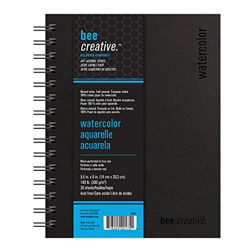 Bee Paper Company Bee Paper Bee Creative watercolor Book, 5-1/2-by-8, 5-1/2x8 - Recycled Chipboard Cover