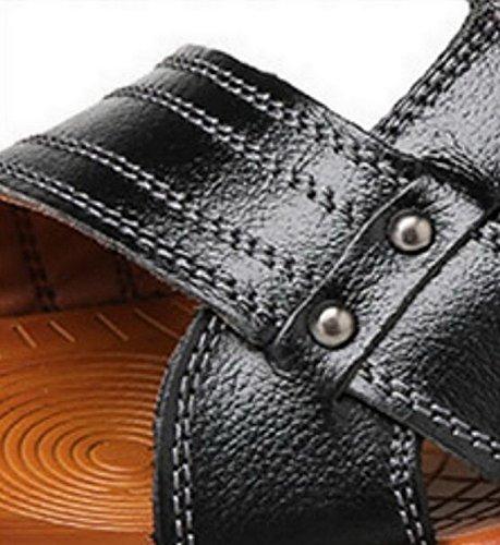 Vocni Heren Open Teen Casual Lederen Comfortabele Schoenen Sandalen Heren Sandalen Voor Heren Lederen Sandalen Zwart