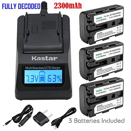 Kastar Ultra Fast Charger Kit and 3 X NP-FM50 InfoLithium Battery for Select Sony M Type Equivalent Camcorder/Digital Camera