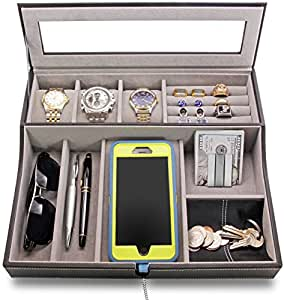 "HOUNDSBAY ""Navigator"" Big Dresser Valet Tray for Men with Watch Box Jewelry Organizer & Angled Charging Station (Grey)"