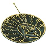 Rome 2309 Modern Times Sundial, Solid Brass with Verdigris Highlights, 10-Inch Diameter