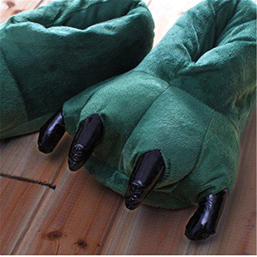 Pantoufles Peluche Animal Peluche YUWELL Slipper Vert Shoes Foncé Et Chaussure Souple Hiver en Hommes Femmes Griffes Xw15xxI