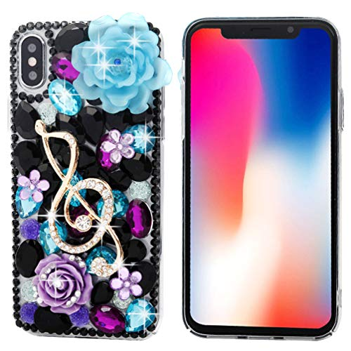 Case Bling Hard Plastic (iPhone X Case, iPhone Xs Case, Mavis's Diary Clear Slim Fit Luxury 3D Handmade Bling Crystal Rhinestone Diamonds Music Note Lotus Fashion Design Full Body Protective Hard PC Plastic Cover)