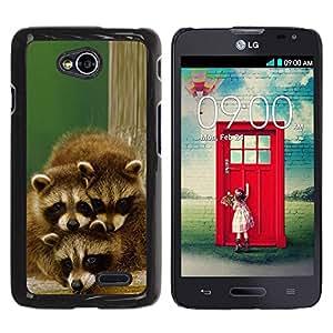 PC/Aluminum Funda Carcasa protectora para LG Optimus L70 / LS620 / D325 / MS323 Cute Happy Raccoon Family / JUSTGO PHONE PROTECTOR