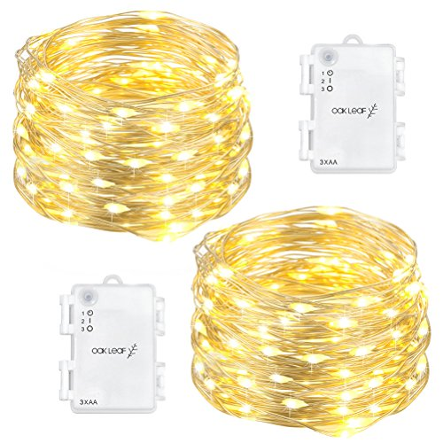 - Oak Leaf 60-LED Fairy Lights,2-Pack Battery Operated String Lights,Warm White,9.8ft