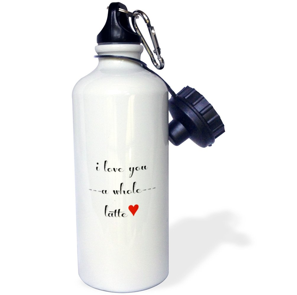 Multicolored wb/_202771/_1 21oz 3dRose Love You a Whole Latte-Sports Water Bottle