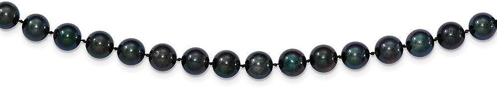 Oro blanco de 14K 7–8mm Ronda Negro Agua salada Akoya Collar de perlas cultivadas