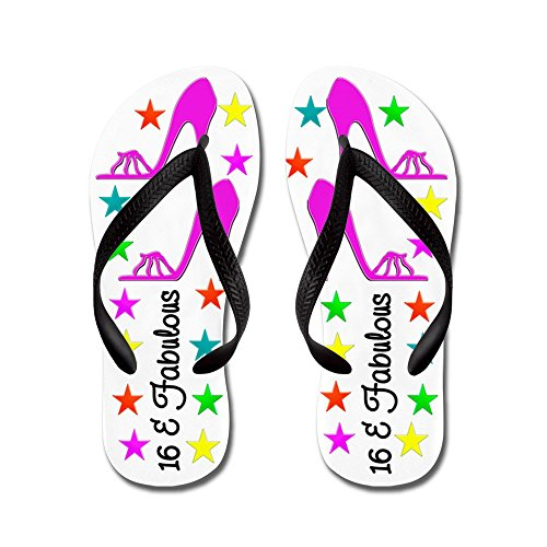 CafePress Happy 16TH - Flip Flops, Funny Thong Sandals, Beach Sandals Black