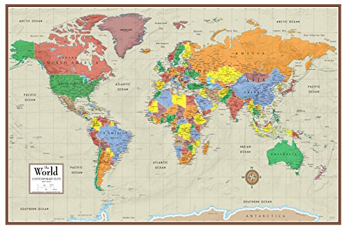 Laminated Rolled Map - Swiftmaps World Contemporary Elite Wall Map Poster Mural 24h x 36w (Laminated Rolled)