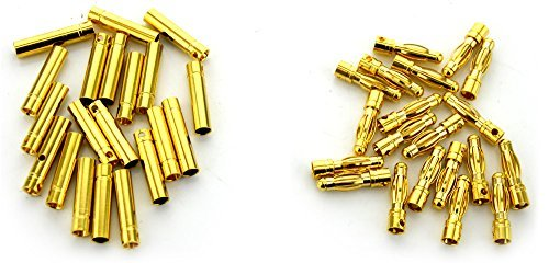 BW 20 Pairs 4mm Gold Plated Male & Female Bullet Banana Plug Connector for ESC Battery (20 Male + 20 Female)