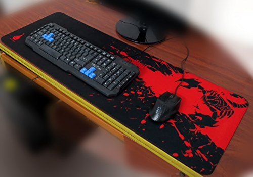 Sean XXL Professional Large Mouse Pat & Computer Game Mouse Mat (35.43''W x 11.81H x 0.12TH) (Black&Red)