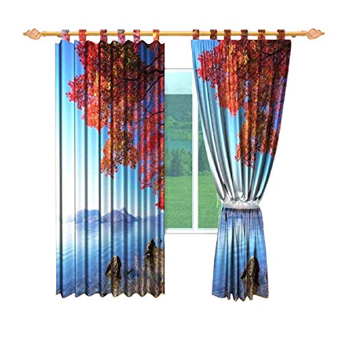 (  IrisUSA Soletex Red Autumn Tree Near Lake Printed Themed ( 57 x 95 Inches ) 100% Polyester One Panel Room Darkening Curtain Window Drape for Home Décor, Solid (Multicolor))