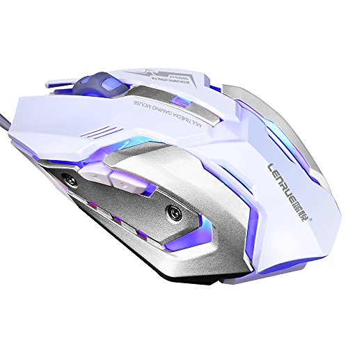 LENRUE Gaming Mouse with LED Optical, 4 DPI Adjustment Levels, 6 Buttons for Laptop, PC, Mac (White Gaming Mouse)