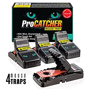 Mouse Trap | Effective and Quick Mice Rat Snap Traps that Work | More Humane Rodent Killer | Safe & Sanitary Professional Pest Control Products | 4 pack