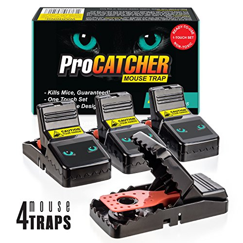Mouse Trap   Effective and Quick Mice Rat Snap Traps that Work   More Humane Rodent Killer   Safe & Sanitary Professional Pest Control Products   4 pack