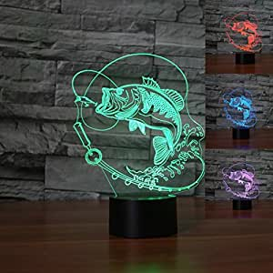 Cute 3D Fish Night Light Table Desk Optical Illusion Lamps 7 Color Changing Lights LED Table Lamp Xmas Home Love Brithday Children Kids Decor Toy Gift