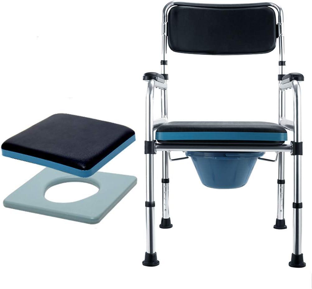 YUN TAO Plegable de noche Silla con orinal con asiento acolchado médico de altura ajustable Ducha WC marco de seguridad for sillas Carriles por personas mayores de edad, minusválidos, discapacitados M