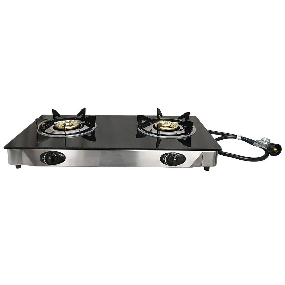 Deluxe Propane Gas Range 2 Burner Stove Tempered Glass Cooktop Auto Ignition Generic