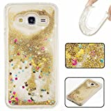 KSHOP Samsung Galaxy G530 Case Glitter Case, Unique Design Fluid Liquid Floating Flowing Bling Shiny Quicksand Sparkle Glitter Design Crystal Clear Soft TPU Case Protective Shell Case Cover - Golden