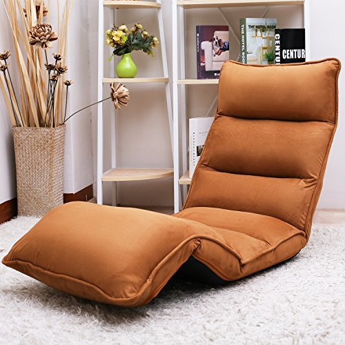 Merax Upholstered Lazy Sofa Floor Sofa Chair Folding Sofa Couch Lounger (Coffee) by Merax