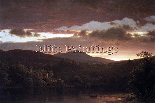 Church Oil Paintings - Elite-Paintings Twilight Catskill Mountain Frederick Church Artist Painting Oil Canvas REPRO 24x36inch Museum Quality