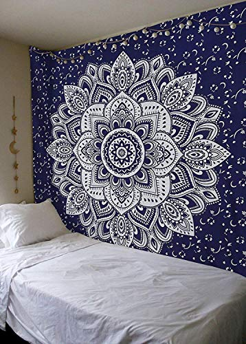 Tapestry Box - THE ART BOX Silver Lotus Wall Tapestry Queen Wall Tapestry Mandala Throw Blanket 90x85 Blue Wall Tapestry Hippie Bedspread Large Wall Tapestry Hanging