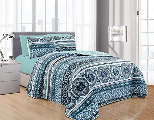 (DiamondHome ISRA 6PC Printed Reversible Bedspread, Oversize Coverlet, (Queen))