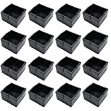 BTMB 16 Pcs Black Chair Leg Floor Protectors Square Chair Leg Caps PVC Furniture Table Feet Covers(Fit 1.88'' to 2.16'')