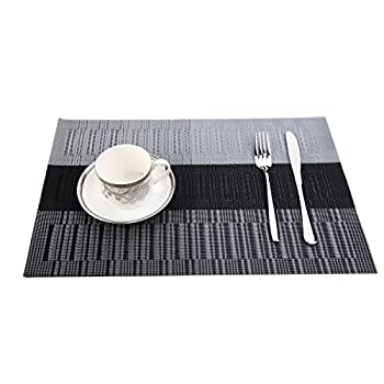 Musiclily Home PVC Heat-resistant Placemats Dining Room Placemats Dinner Table Place Mats for Dining Table Heat Insulation Woven Vinyl Kitchen Placemat Vinyl Placemats, Grey White Black( Set of 4)