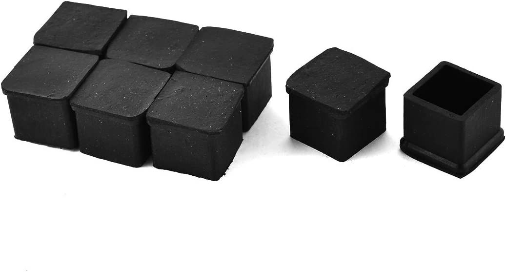 Antrader Square Rubber Covers Furniture Foot Table Chair Leg End Cap Cover Tip Protectors Black,Pack of 12 (20x20mm A)