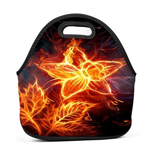 c65aa5cd141c dreambest Novelty Flame Brilliant Flower Design Insulated Neoprene Lunch  Bag for Unisex Lunch Bag Handbag for Work and School
