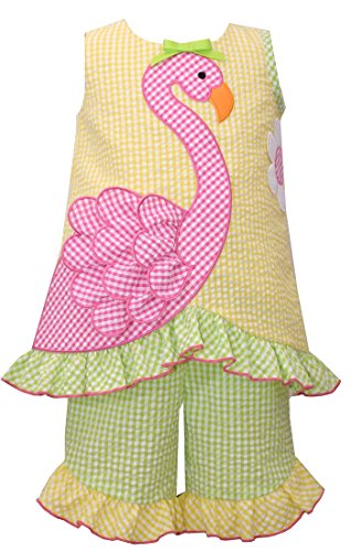 Bonnie Jean Little Girls Gingham seersucker Pink Flamigo Dress Outfit Set, - Jean Jeans Bonnie Gingham