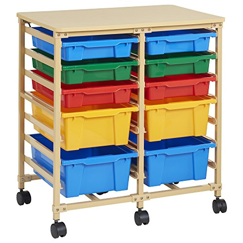 ECR4Kids 10-Tray Mobile Storage Organizer, Sand with Assorted (Mobile Supply)