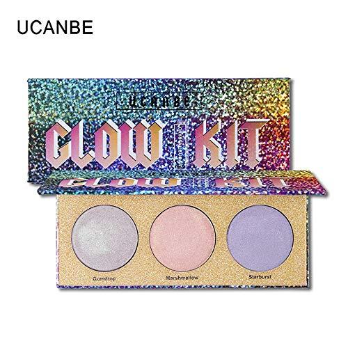 UCANBE Brand Chameleon Crystal Sugar Eyeshadow Makeup Palette Highlighter Bronzer Glow Shimmer 3 Colors Eye Shadow Cosmetic Kit