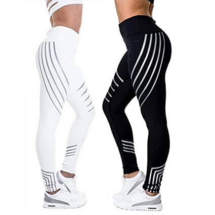 40c6cf5e73 DSGEU Women Fitness Leggings Women Sporting Strip Workout Legging Elastic Trousers  Slim Black White Pants Black