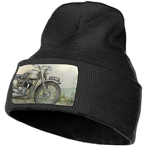 (Anonymous Guest Knit Hat Cap Drawn Motorcycle Bullet Bike Winter Hats Black)