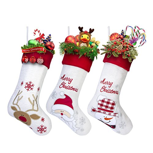 17'' Large Christmas Stockings Set of 3 with Santa, Reindeer, Snowman, Gospire Classic Linen Christmas Socks for Decorations Gift/Treat Bags by Gospire (Image #8)