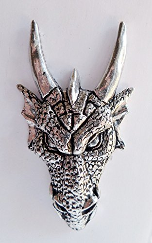 (Menacing Dragon Head Pin Badge - Hand Made in Cornwall , England in Solid Pewter)