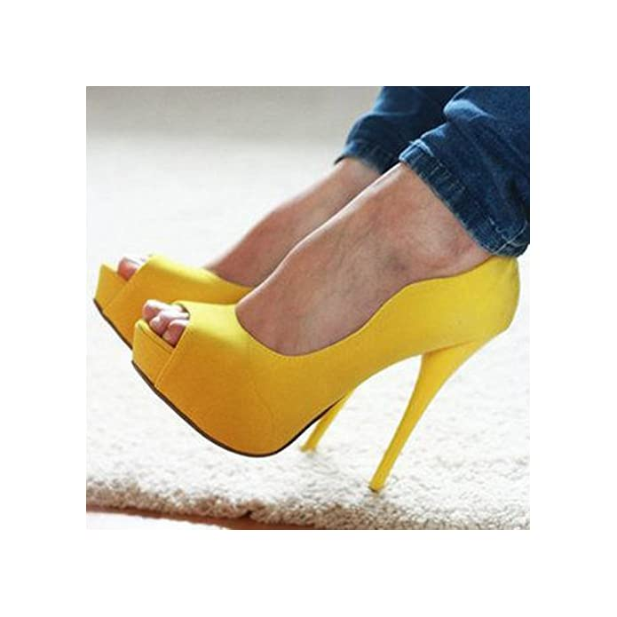 Vivioo Prom Sandals Shoes beautiful Fashion leather Fabric peep Toe Pumps women's High Heels Size 34-45 yellow 5