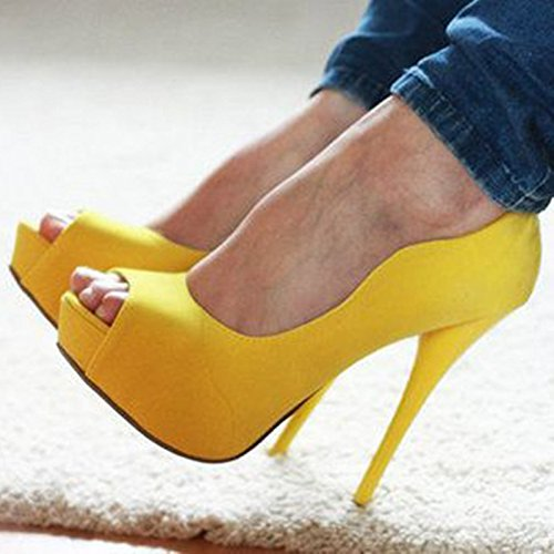 34 Size VIVIOO 9 Women's Peep Pumps Toe Beautiful Yellow 5 Heels Prom Leather Sandals Shoes High 45 Fabric Fashion SO1w6Sq