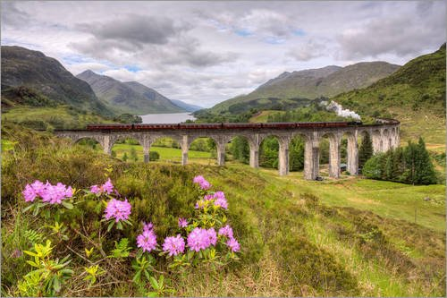 Posterlounge Leinwandbild 60 x 40 cm  Glenfinnan Viadukt in Schottland mit Dampflok von Michael Valjak - fertiges Wandbild, Bild auf Keilrahmen, Fertigbild auf echter Leinwand, Leinwanddruck