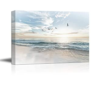 "wall26 Canvas Wall Art - Watercolor Style Waves on The Beach with Sea Birds - Giclee Print Gallery Wrap Modern Home Decor Ready to Hang - 24"" x 36"""