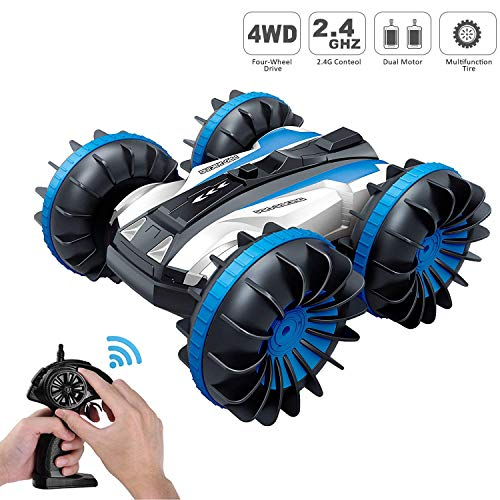 Tuptoel Rc Stunt Car Water Land 2 in 1 Car Boat Waterproof Remote Control RC Vehicles 2.4Ghz 4WD Double Sided Off Road Hobby RC Car 360° Spins & Flips Tank