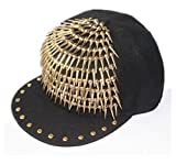 primerry Unisex leisure Satin Punk long pointed rivet hip-hop baseball cap hat (Gold)
