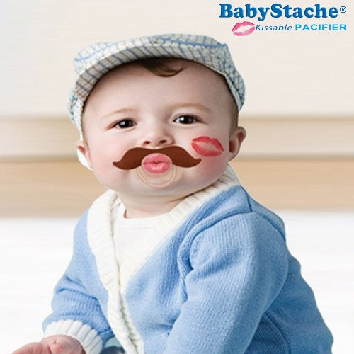 BabyStache Funny Baby Pacifier Cute Kissable Mustache Pacifier for Babies and Toddlers Unisex, BPA Free, Latex Free made with Silicone, Romeo Brown