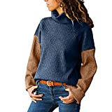 WOCACHI Final Clear Out Womens Blouses Turtleneck Sweater Color Block Patchwork Long Sleeve Pullover Black Friday Cyber Monday Winter Warm Bottoming Shirts Knitted Tops Jumpers Blue